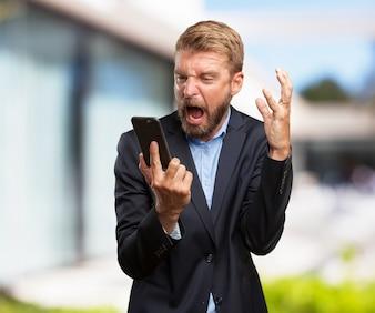 Verrückt Geschäftsmann besorgten Ausdruck