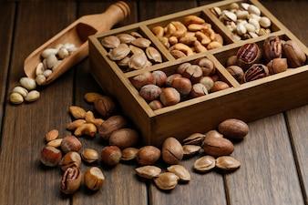 Verschiedene Nüsse in Holzkiste