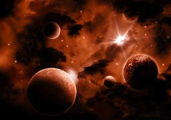 Verschiedene Planeten im Weltraum