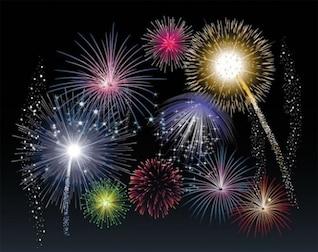 viele Feuerwerk über schwarzen Himmel