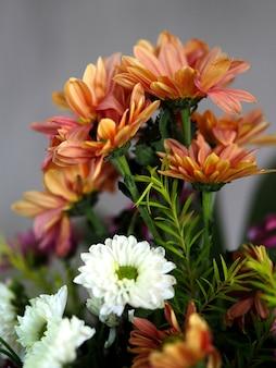Viele Gruppe weiß orange Wildblumen