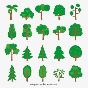 Vielzahl von skizzenhaften Bäume