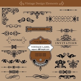 Vintage wirbelt Dekorationen Kostenlos