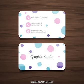 Visitenkarte mit Aquarell dots
