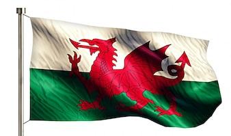 Wales Nationalflagge isoliert 3D weißen Hintergrund