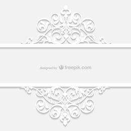 Weiß Retro Zier-Vorlage