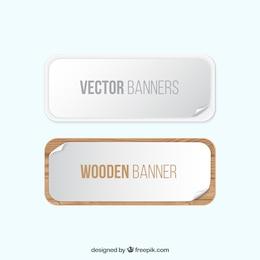 Weiß und Holz-Banner