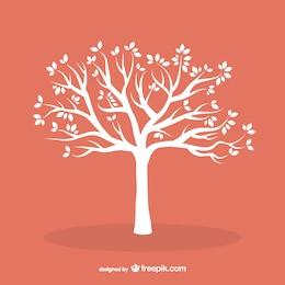 Weißen Baum mit Blättern
