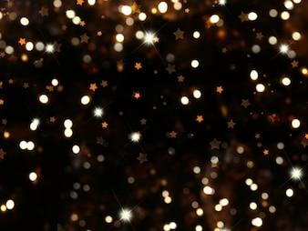Weihnachten Hintergrund mit Bokeh Lichtern und Sternen
