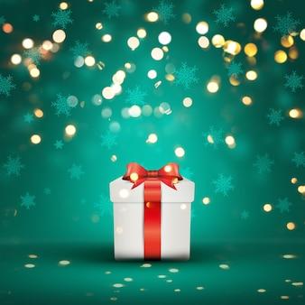Weihnachtsgeschenk auf einem Hintergrund Bokeh Lichter