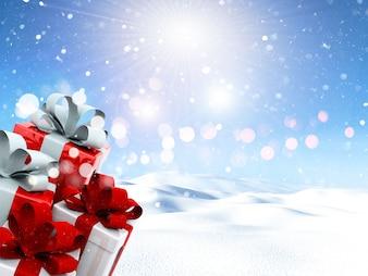 Weihnachtsgeschenke in einer verschneiten Landschaft 3D übertragen
