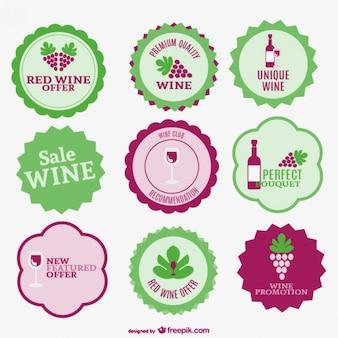 Wein Verkauf Etiketten Sammlung