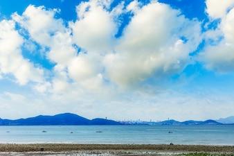 Welle Wasser schöne blaue Himmel Skyline