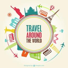 Weltreisen Vektor-Vorlage kostenlos