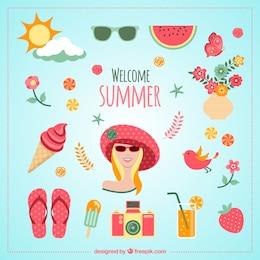 Willkommen Sommer Symbole