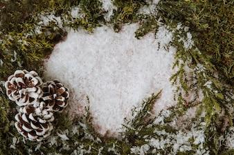 Winter Komposition mit Platz in der Mitte