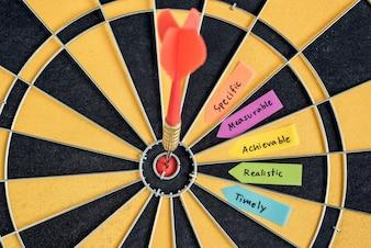 Worte smart Ziele mit Dart Ziel auf Dartscheibe
