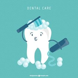 Zahn-Cartoon Reinigungskonzept