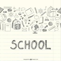 Zeichnung Schulsachen auf einem Notebook