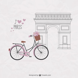 Ziemlich Fahrrad auf Paris Hintergrund