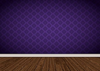 Zimmer Interieur mit lila Damast Tapeten und Holzboden