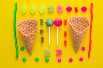 Zusammensetzung verschiedener Süßigkeiten