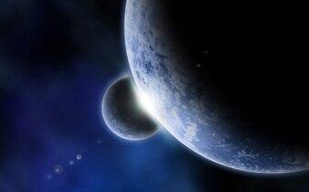 Zwei Planeten im Raum