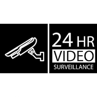 24 hours video surveillance symbol