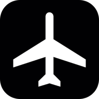 Airplane silhouette on square background