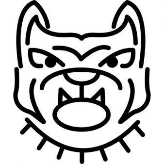 Angry bulldog face outline