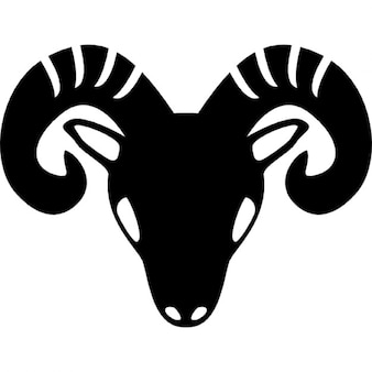 Aries zodiac symbol of frontal goat head