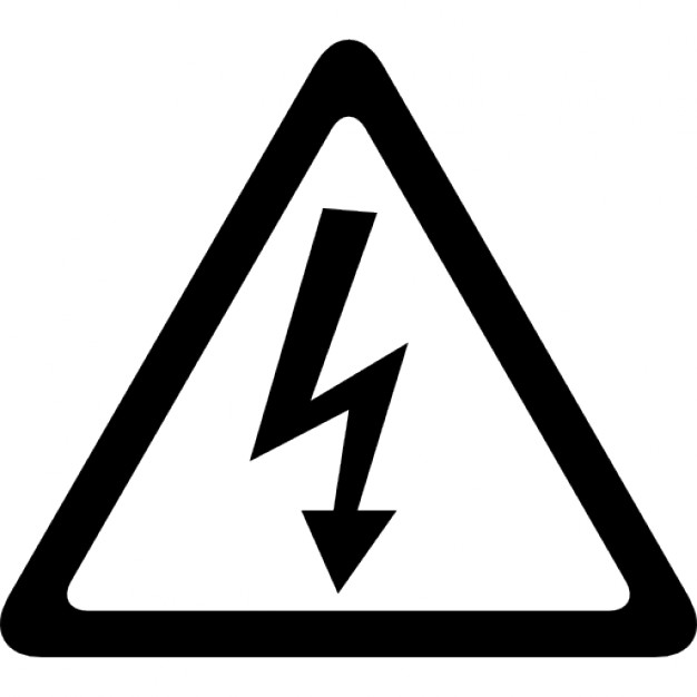 Arrow bolt signal of electrical shock risk in triangular shape