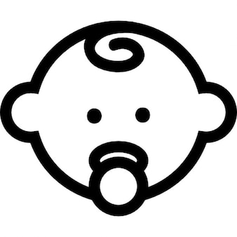 Baby head outline with pacifier