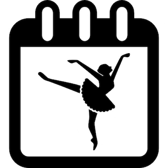 Ballet dancer on calendar page to remind class day