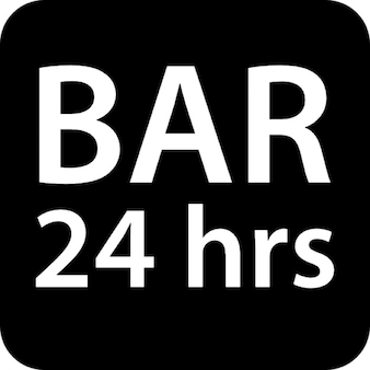 Bar 24 hours rounded square signal