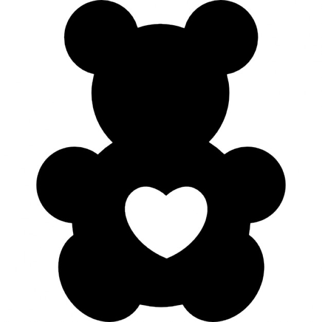 Bear toy silhouette with a heart shape