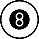 Billiard ball outline with number eight