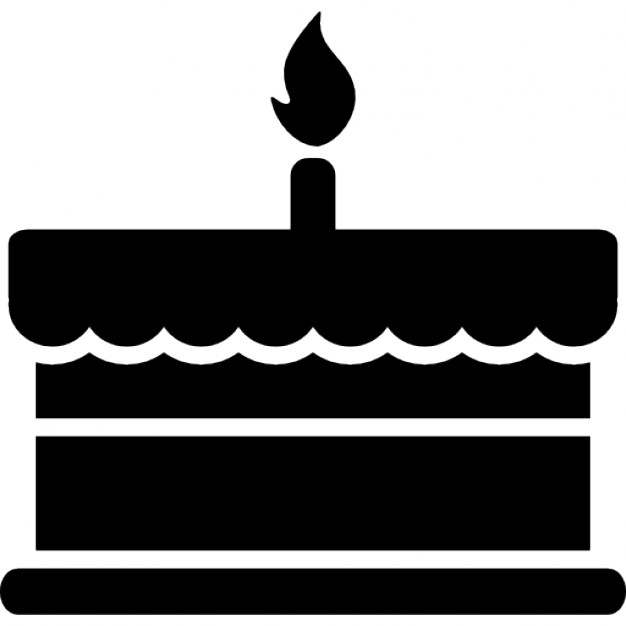 Birthday cake with one burning candle