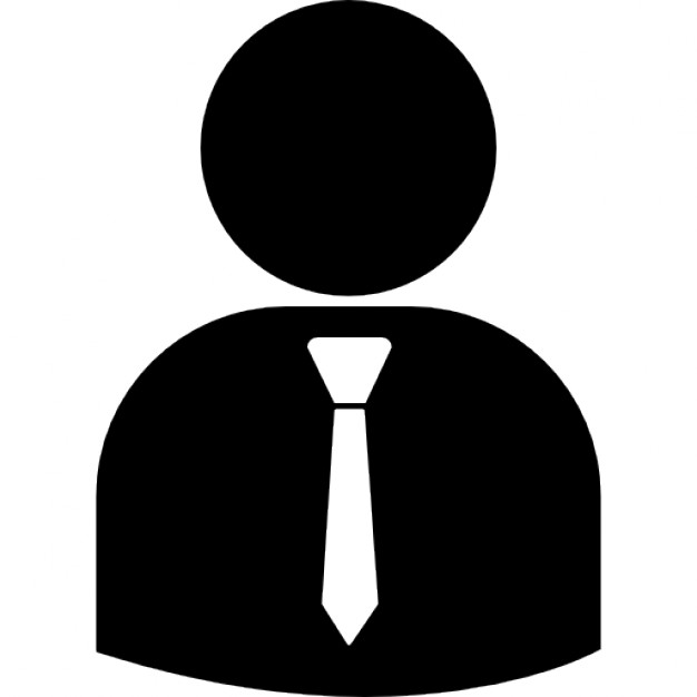 Business person silhouette wearing tie