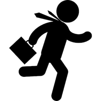 Businessman running fast with suitcase in right hand