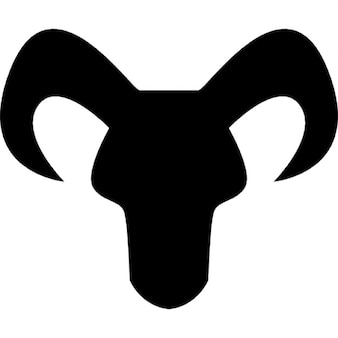 Capricorn astrological sign of head black silhouette with horns