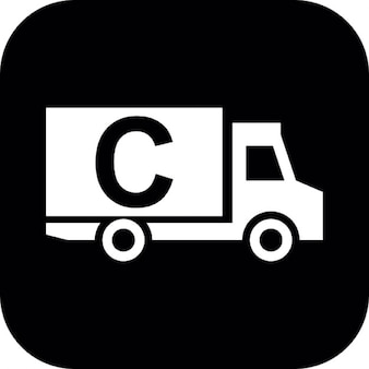 Cargo truck with letter c on black square background