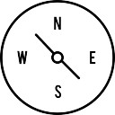 Compass with cardinal points