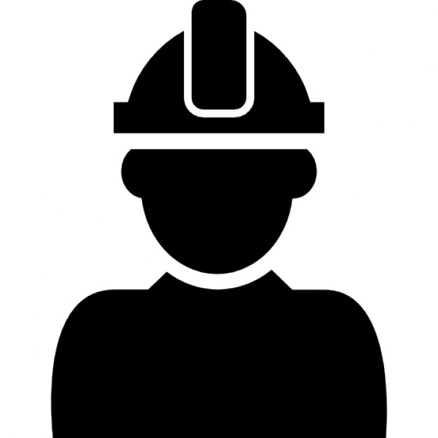 Constructor with hard hat protection on his head