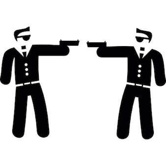 Couple of armed gangsters pointing each other with their arms