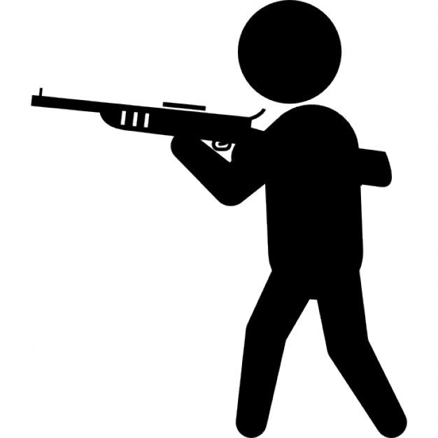 Criminal with big gun silhouette