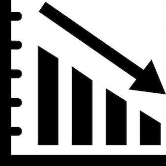descending business graphic with up arrows and a