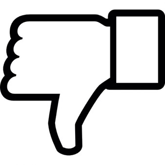 Dislike on Facebook, thumb down symbol outline