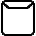 Email square outlined interface symbol of envelope back