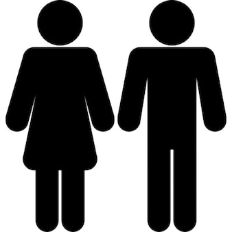 Female and male shapes silhouettes